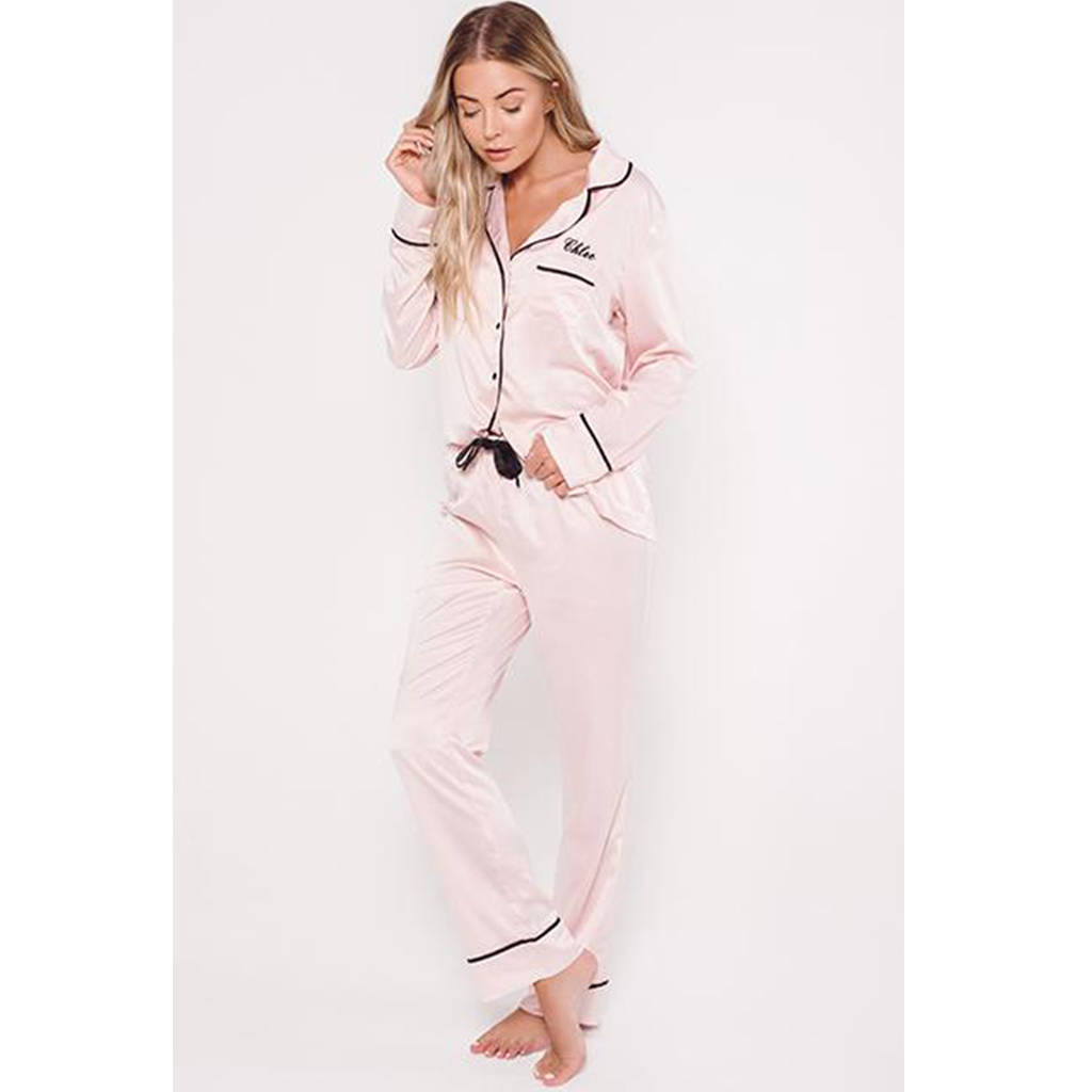 personalised ha sleep satin luxe long sleeve pyjama set by ha ... 0fd4eb64bff32