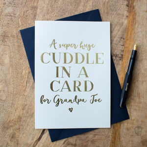 Foil 'Cuddle In A Card' Personalised Lockdown Card
