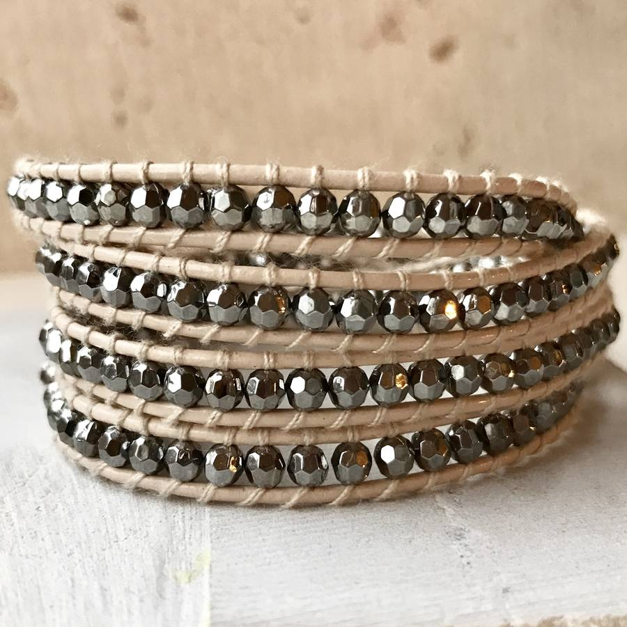 price our htm sparkly leather p bead black by shamelessly bangles cuff and bracelet wrap