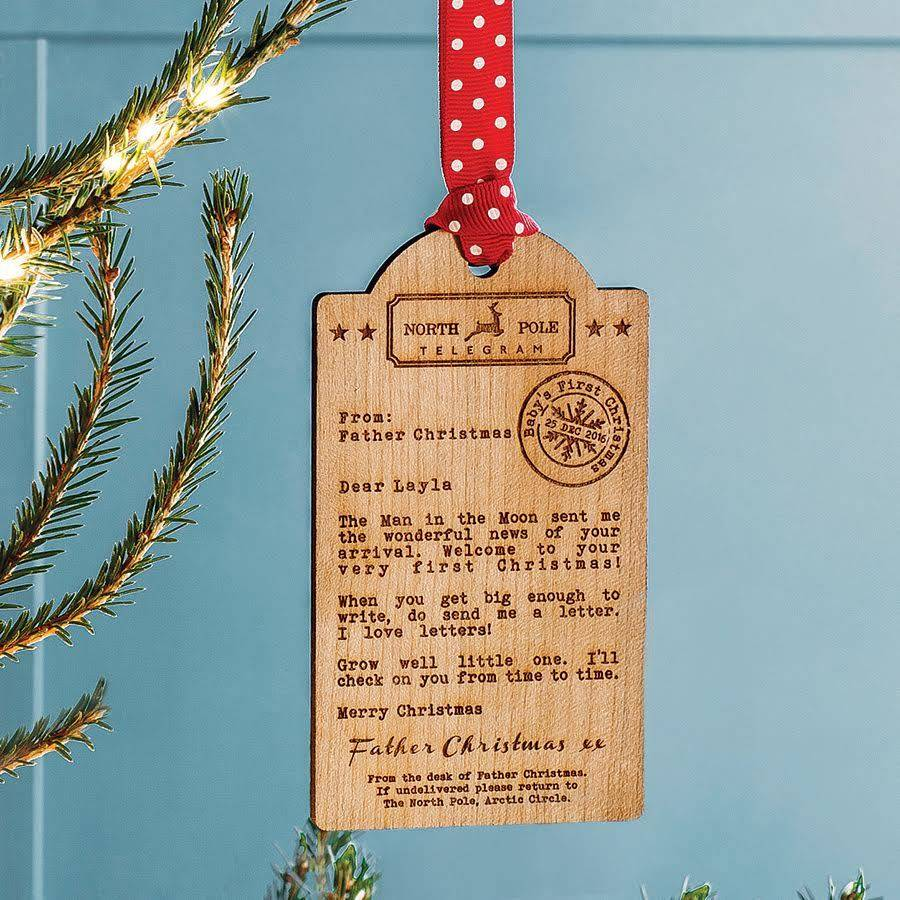 Bespoke baby 39 s first christmas wooden tag decoration by for Babys first christmas decoration