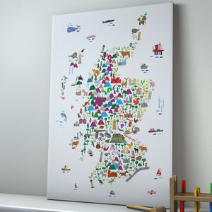 Animal Map Scotland Childrens Print - pictures & prints for children