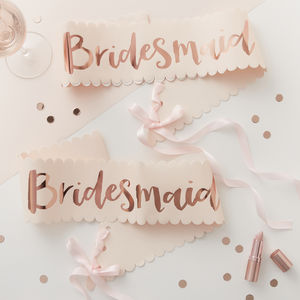 Two Pink And Rose Gold Bridesmaid Hen Party Sashes - be my bridesmaid?