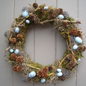 Easter Feather Egg And Twig Wreath