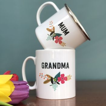 Mothers Day Retro Floral China Mug