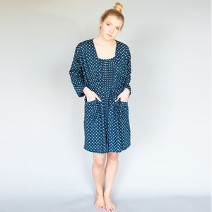 Short Cotton Robe And Matching Slip In Navy Spot - lingerie & nightwear