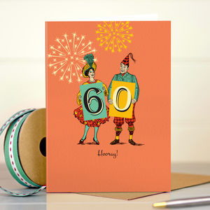 60th Birthday '60th Hooray' - birthday cards