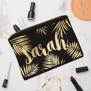 Personalised Palm Leaf Make Up Bag - make-up & wash bags
