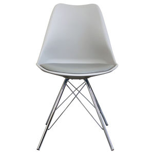 Light Grey Copenhagen Chair With Chrome Legs - dining chairs