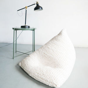 Hand Knitted Pearl Wedge Bean Bag - furniture