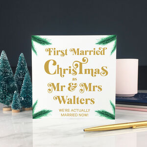 Personalised First Married Christmas Card