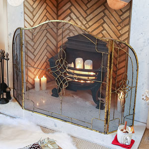 Ornate Luxe Gold Fire Guard - fireplace accessories