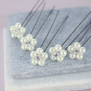 Set Of Five Pearl And Crystal Flower Hairpins - women's accessories