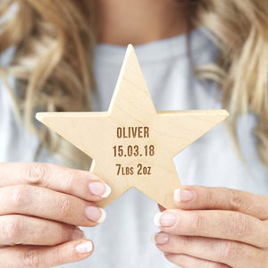 Personalised Baby Keepsake Wooden Star - new baby gifts