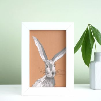 Small framed hare print