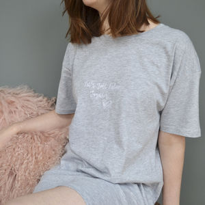 Let's Fall Asleep Together Embroidered Nightshirt - women's fashion