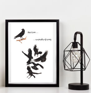 A Murder Of Crows Collective Noun Watercolour Print