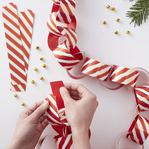 Gold Foiled Pin Stripe Paper Chains Red And Gold - winter sale