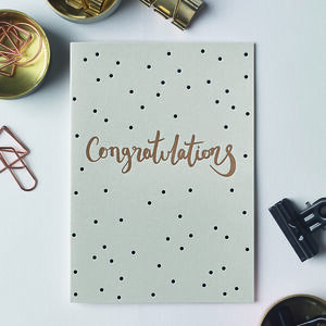 'Congratulations' Polka Dot Letterpress Card