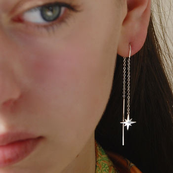 Silver Star Threader Earrings