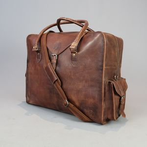Extra Large Distressed Vintage Style Leather Cabin Bag