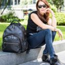 Personalised Joy Xl Black Studded Leather Backpack