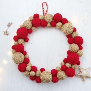 Christmas Wool Ball Wreath - wreaths