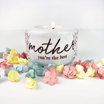 Personalised Floral Candle / Tea Light Holder