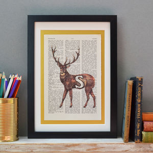 Personalised Stag Letter Print - mixed media & collage