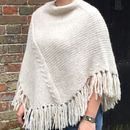 Cable Stitch Poncho With Fringes