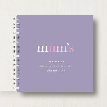 Personalised 'Mum's' Mother's Day Memory Book in dark mauve