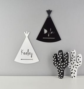 Monochrome Bedroom Door Plaque Teepee Or Wigwam Acrylic