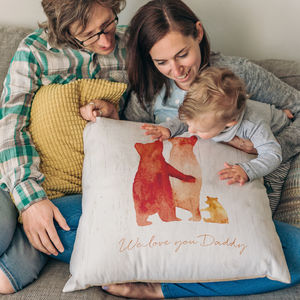 Personalised Bear Family Faux Suede Cushion