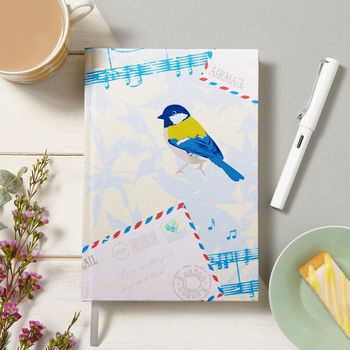 Bird And Airmail Fabric Notebook