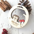 Personalised Baby Twins First Christmas Hedgehog Bauble