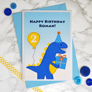 'Dinosaur' Personalised Birthday Card For Children