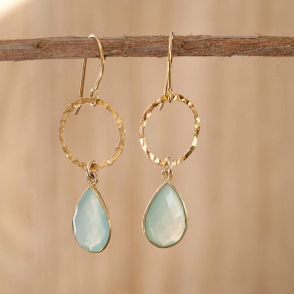 Drop Earrings From Aqua Chalcedony