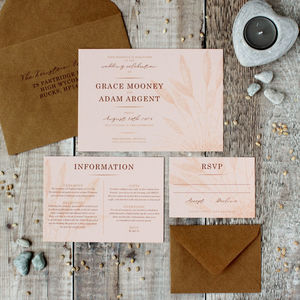 Shoreline Pampas Grass Wedding Invitation