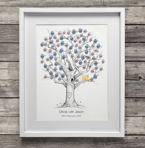 Oak Wedding Fingerprint Tree Guest Book - albums & guest books