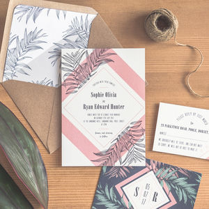 Tropical Leaf Wedding Invitation / Navy - invitations