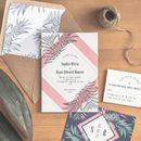 Tropical Leaf Wedding Invitation / Navy