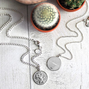 Personalised St Christopher Necklace - gifts for him