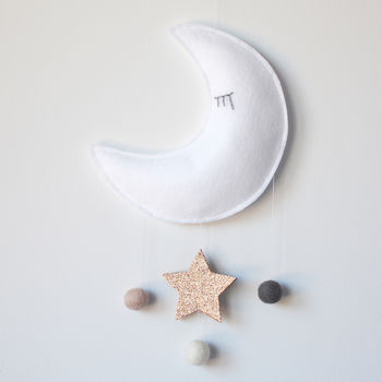 Glitter Moon Baby Mobile, White, Pink And Grey