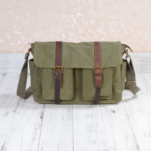 Large Canvas Leather Shoulder Messenger Bag