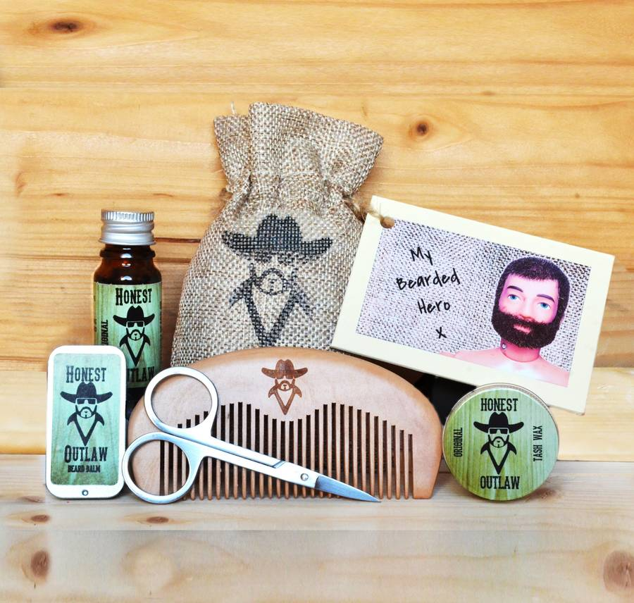 beard grooming kit with personalised gift card by honest outlaw. Black Bedroom Furniture Sets. Home Design Ideas