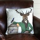 Deer With Bamboo Cage Decorative Cushion