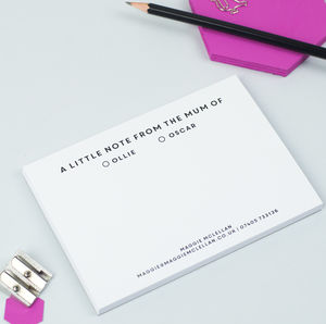 Personalised 'From The Mum Of…' Notepad - stationery sale