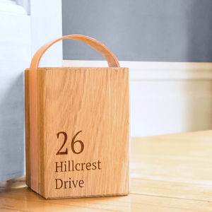 Personalised Oak And Leather Doorstop