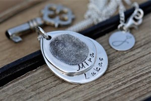 Fingerprint Teardrop Duo Necklace - necklaces & pendants