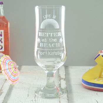 Life Is Better At The Beach Personalised Glass
