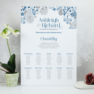 'Eden' Wedding Table Seating Plan - wedding stationery